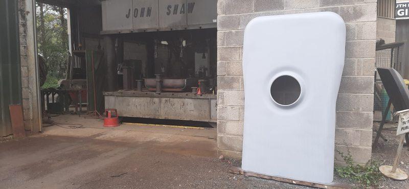 South Devon Railway 1420 backhead plate outside workshop and vicing press Sept 2020 E1239C42