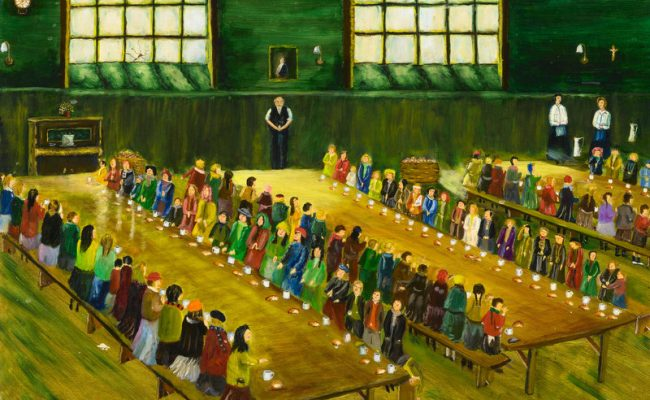 Painting of people lined up at food kitchen