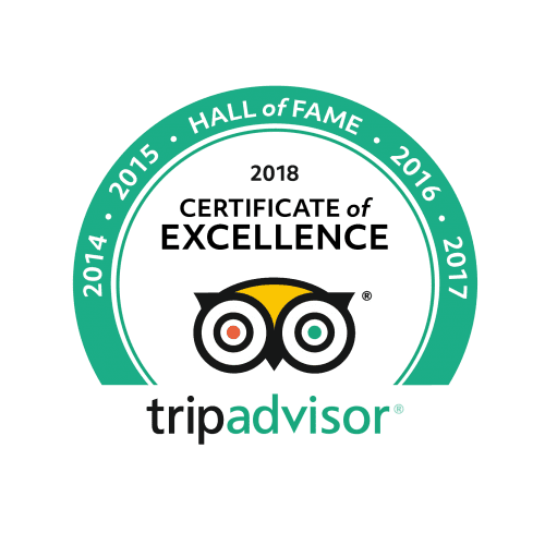 Trip Advisor Hall of Fame Certificate of Excellence 2018