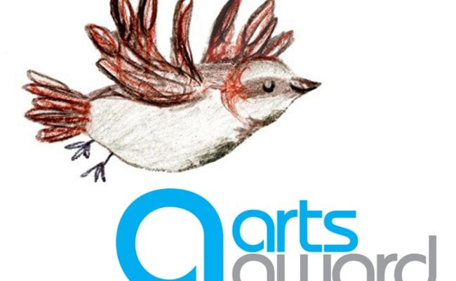 Alfie the sparrow and Arts Award logo