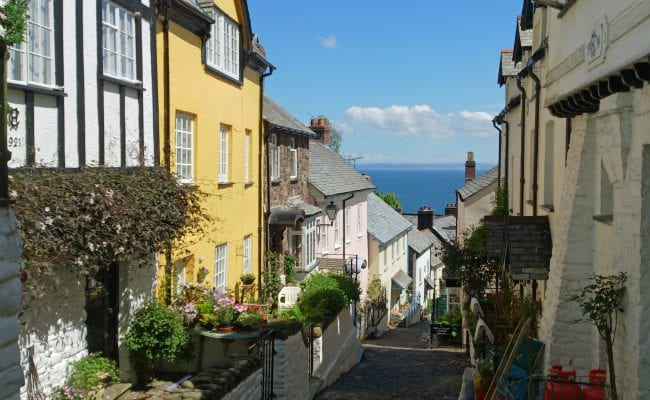 Clovelly village High Street with tumbling cottages