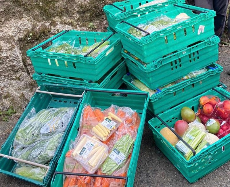 Morrisons give fruit and veg to Becky Falls to feed the animals