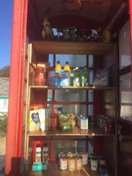 Parish Pantry Telephone box in Clovelly - community spirit