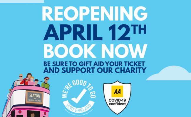 Seaton Tramway Reopening April 12th Be Sure to Gift Aid your Tickets and Support our Charity. Tram.co.uk