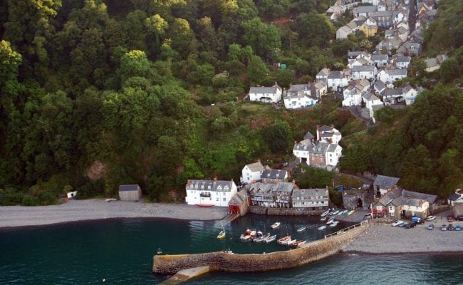 Clovelly aerial view of harbour and village