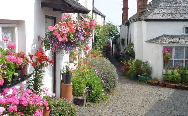 Clovelly High Street bedecked with flowers